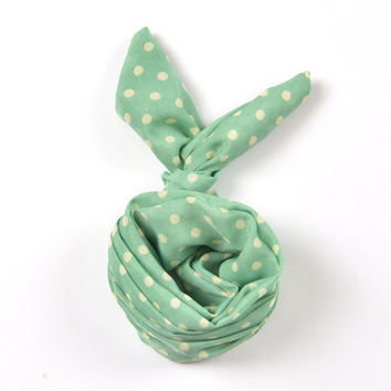 Mint Green Cute Small Polka Dot Vintage Retro 60's Bun Wired Headband Twist Chiffon Hairband Wraps Hair Band Bow Accessory Gift (HBS-590)