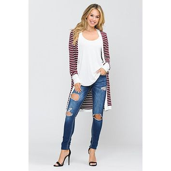 Burgundy and White Striped Midi Cardigan (S-XL)