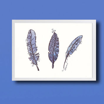 Lavender ORIGINAL Ink Feather Drawing, Nursery Wall Decor, Graphic Monochrome Art, Boho Kitchen Living Room Home Decor, Watercolor & Marker