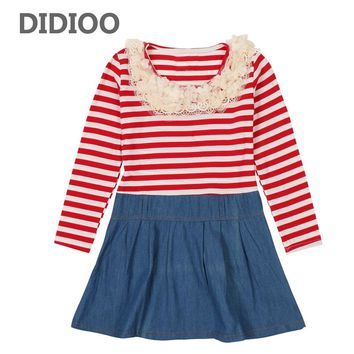 Teenage Striped Dresses For Girls Clothing Long Sleeve Denim Dresses Autumn Princess Bottoming Dresses Patchwork Kids Clothes