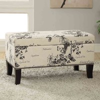 Linon Stephanie Botanical Print Storage Ottoman (Black)