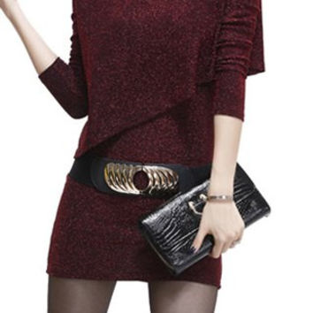 Red Long Sleeve Bodycon Dress with Belt