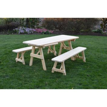 "A & L Furniture Co. Pressure Treated Pine 6' Traditional Table w/2 Benches - Specify for FREE 2"" Umbrella Hole  - Ships FREE in 5-7 Business days"