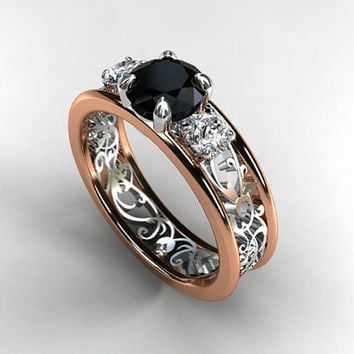 Black And White Diamond Filigree Engagement Ring Trinity Two Tone Rose