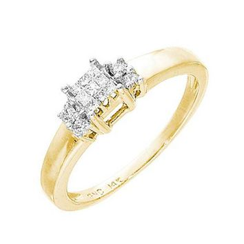 Ladies 14k Yellow Gold 0.15CT Princess Cut Diamond Invisible Promise Ring