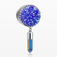 A Pair of Steel Boho Druzy Crystal Pendulum Ear Gauge Plug