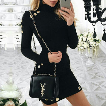 Fashion Solid Color Sexy Long Sleeved  Dress