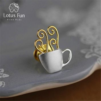 Lotus Fun Real 925 Sterling Silver Handmade Fine Jewelry Adorable Afternoon Dating Hot Coffee Cup Women Brooches Pin Broche