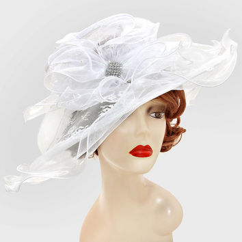 White Wedding Dress Hat Floral Lace Kentucky Derby Hat Women Wide Brim Church Hat New