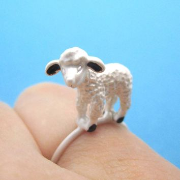 Adorable 3D Baby Lamb Sheep Shaped Animal Ring in Silver