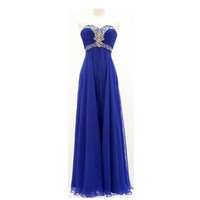 A-line Sweetheart Sleeveless Floor-length Chiffon Bridesmaid Dress With Rhinestone Beading Free Shipping