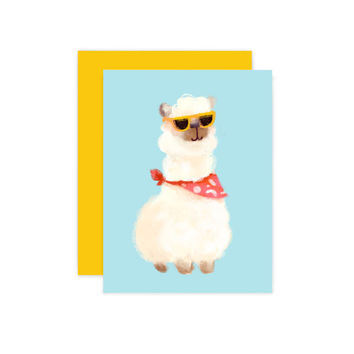 Alpaca Greeting Card - Hipster Alpaca