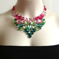 bib necklace - pink and green bib necklace, bridesmaids, prom, bridal necklace, gift or for you NEW