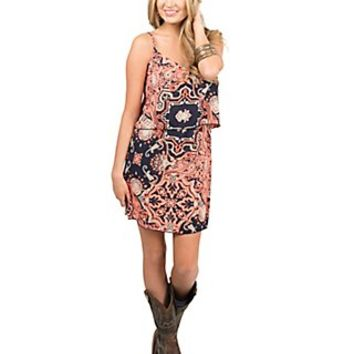 Renee C. Women's Navy & Orange Print with Tiered Top Sleeveless Dress