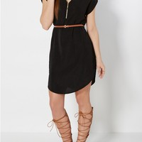Black Zip Yoke Shift Dress