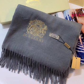 ONETOW Burberry Women Fashion Embroidery Cashmere Warm Cape Scarf Scarves