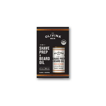 OLIVINA USDA 2 IN 1 SHAVE PREP & BEARD OIL - CEDAR AND BERGAMOT 1 FL OZ