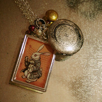Alice in Wonderland NECKLACE PENDANT locket with pearls and real garnet stone