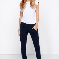BB Dakota Anza Navy Blue Jogger Pants