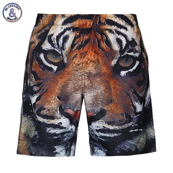 2017 Mr.1991INC New Fashion men's beach shorts digital print tiger animals lovely casual short pants Asia size S-XXL