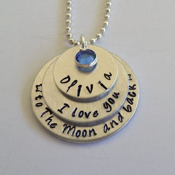"Hand Stamped Personalized ""I love you to the moon and back"" Necklace / Stacked Custom ""I love you to the moon and back"" Pendant"