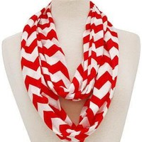 Chevron Color Spread Infinity Scarf-RED