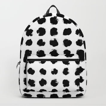 Black and White Minimal Minimalistic Polka Dots Brush Strokes Painting Backpacks by AEJ Design