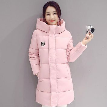High Quality Fashion Down coat Women Winter Longe Sections Hooded Parkas Thick Warm Cotton Slim Jacket winter coat