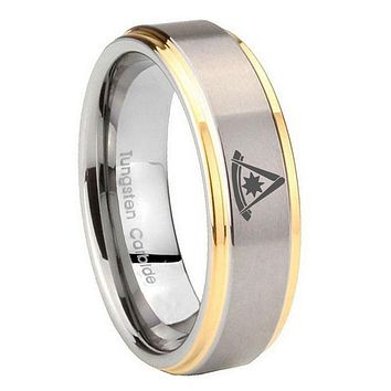 10MM Step Edges Flat Christian Cross 14K Gold IP Tungsten Two Tone Men's Ring