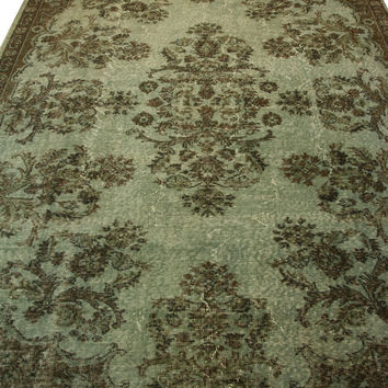 Handmade Overdyed Turkish Carpet Green  - Vintage Turkish Rug- (207X 283 cm)(6,7 ft X 9,2 ft)