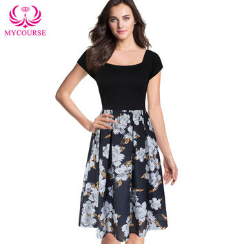 MYCOURSE Womens Elegant Sexy Off Shoulder Slash Neck Floral Flower Print Wear To Work Office Casual Party A-Line Skater Dress