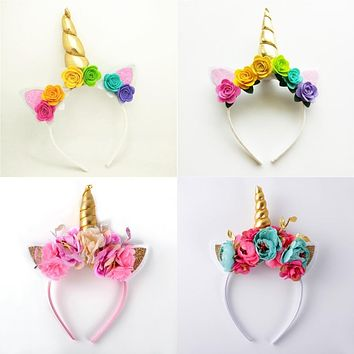 Girl Gold Unicorn Pony Ears Soft Headband 5460