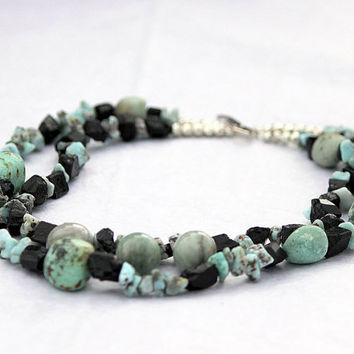 Larimar and Black Tourmaline  Necklace