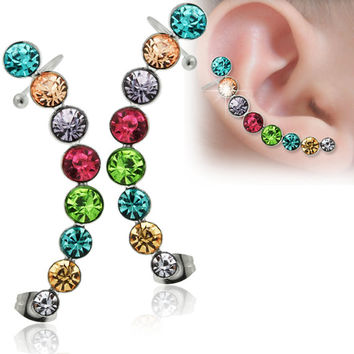 Multi Colored Round Crystal Stone Stainless Steel Cartilage Clip on Cuff Wrap Earrings - Tragus Earring Cartilage Earring