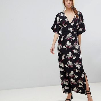 Influence Kimono Sleeve Floral Maxi Dress at asos.com
