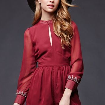 House of Harlow Keyhole Romper - Womens Dress - Red