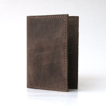 Leather Passport Cover / Passport Wallet / Personalized Passport Holder / Passport Case, Handmade Hand-stitched, Rustic Leather, Earth Brown