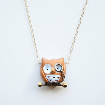 Albert the owl necklace -14k gold filled-