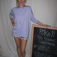 Lilac 3/4 Sleeve Piko Shirt On Sale | Overstock Boutiques