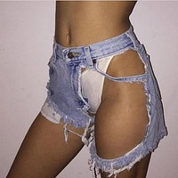 Pure Color Big Hole Regular Sexy Denim Shorts
