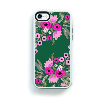 Pink flowers on green Cell Phone Case for iPhone 7 12bea5387375