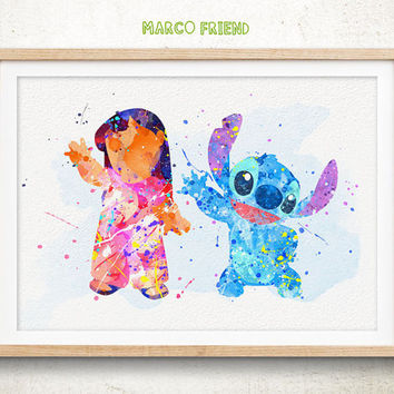 Lilo & Stitch - Watercolor, Art Print, Home Wall decor, Watercolor Print, Disney Princess Poster