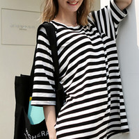 Striped Short Sleeves Loose Blouse