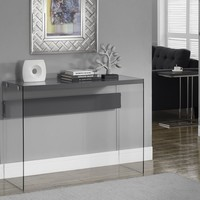 Glossy Grey Hollow-Core / Tempered Glass Sofa Table