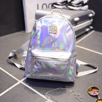 New Arrival Holographic Backpack Women School Backpacks For Teenage Girls Fashion Travel Rucksack Small PU Leather Backpack