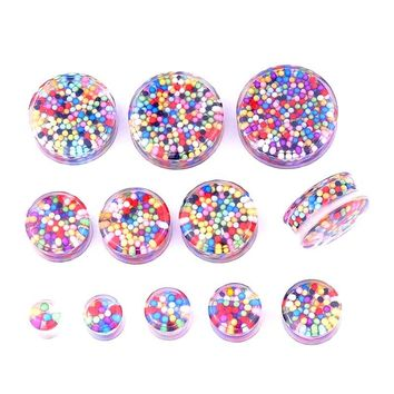 Womens Multi-Color Beads Transparent Clear Acrylic Plugs Gauges 1 Pair 8-30mm