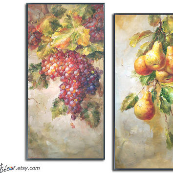Set Of 2 Oil Painting, Fruit Still life Painting, Vertical Art, Textured Painting, Canvas Painting, Handmade. Original Painting,
