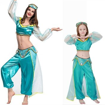 Adult women halloween party cosplay kid children girl princess jasmine costume Aladdin's lamp clothes clothing