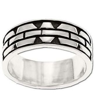 Sterling Silver Men's Oxidized Chain Link Band Ring
