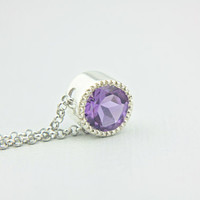 Amethyst Pendant Sterling Silver Purple Amethyst Solitare Necklace Slider Pendant Natural Amethyst Jewelry Necklace Silversmithed Milgrain